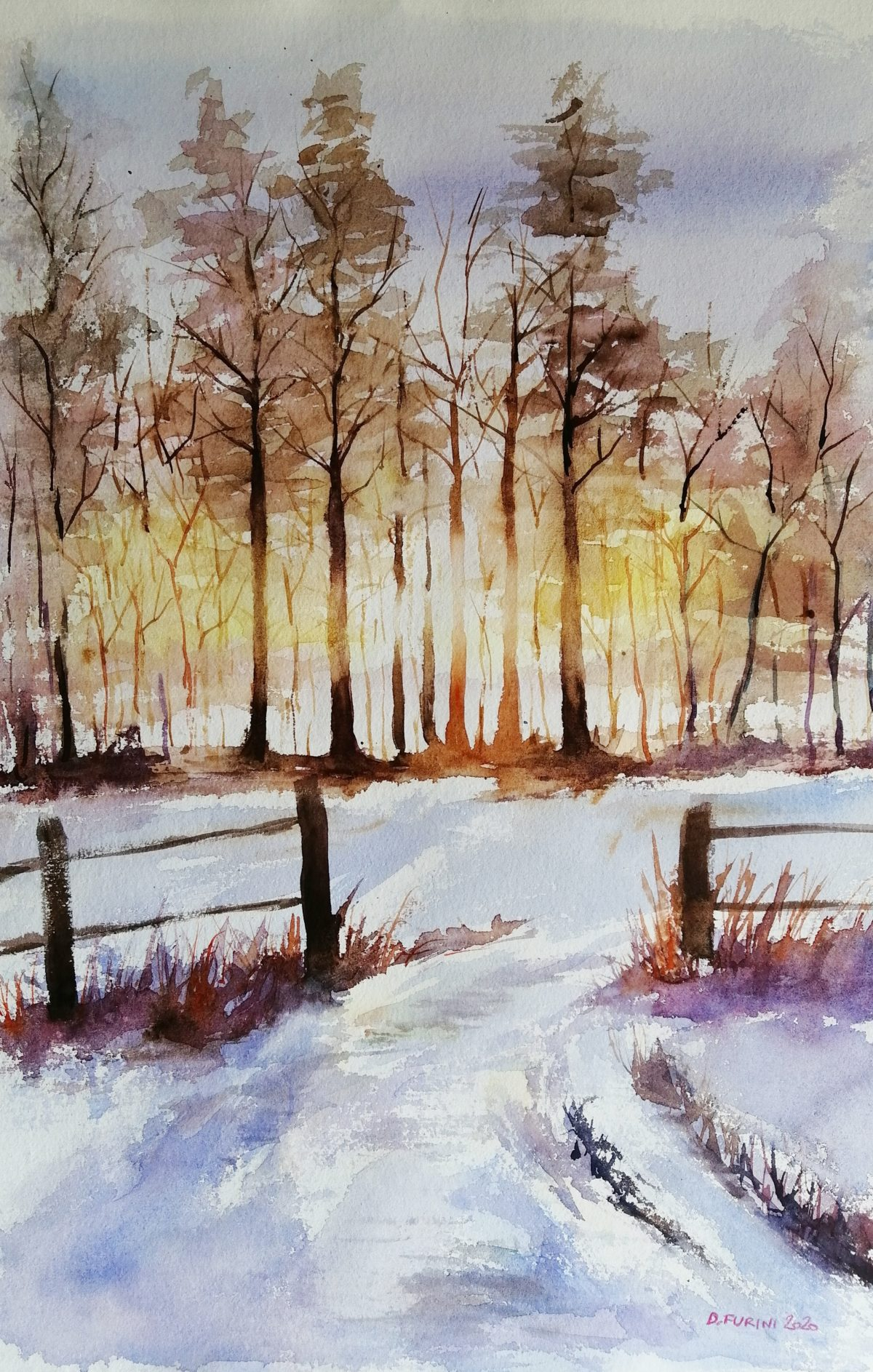 Water-colour winter landscape