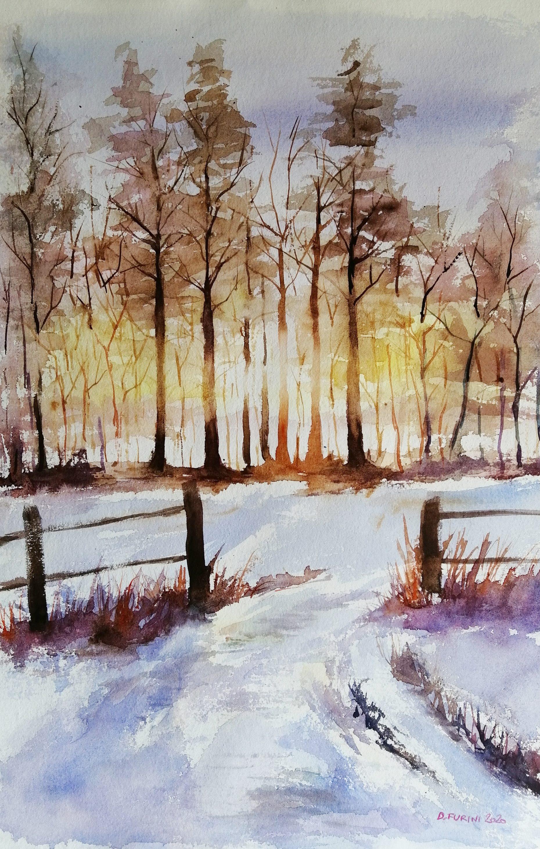 Water-colour winter landscape
