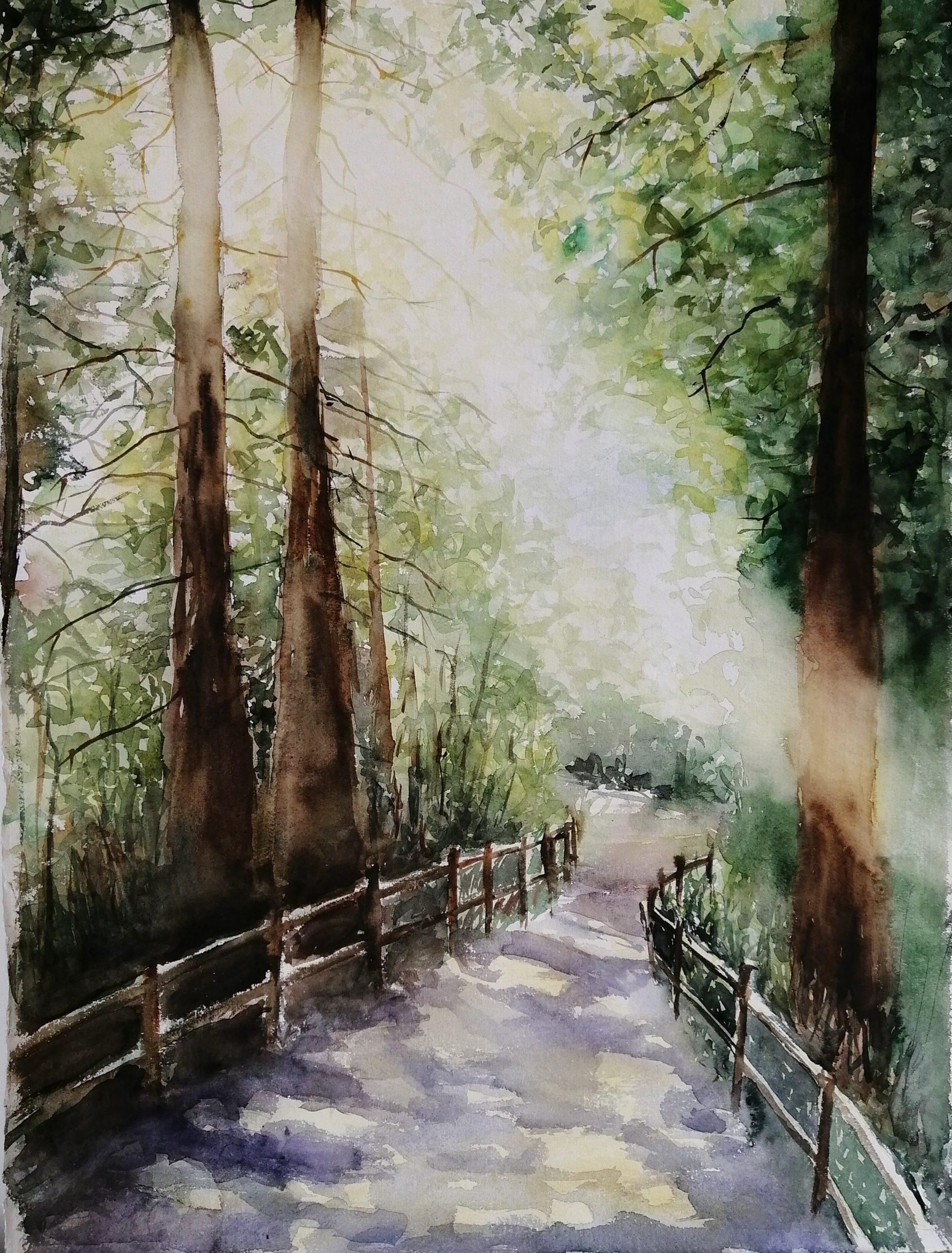 Watercolor forest landscape